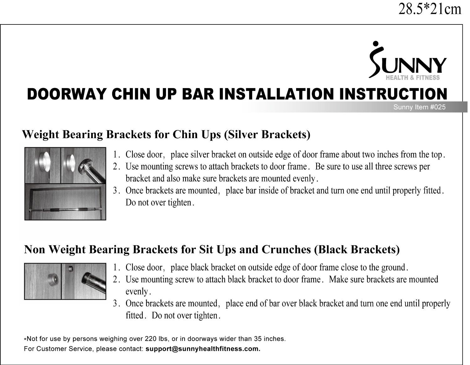 sunny health and fitness doorway chin up bar